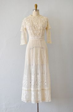Sweetest Primrose Dress // Edwardian embroidered lace lawn dress; 1910s | Adored Vintage