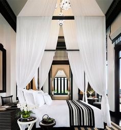 8 Sublime Tips: Canopy Bed Ideas Beach canopy detail bedroom ideas.Canopy Architecture Home tree canopy bed. White Bedroom, Beautiful Bedrooms, Home Bedroom, White Decor, Bedroom Design, Black And White Decor, House Interior, Bedroom Inspirations, Black White Bedrooms