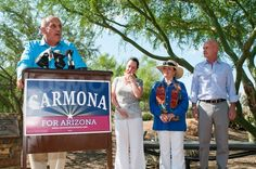 US Senate candidate Richard Carmona speaks to media. Carmona received the endorsement of the Goldwater family.