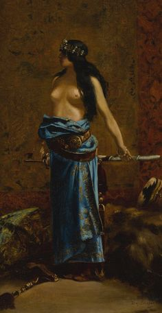 Jean-Joseph Benjamin-Constant 1845-1902 FRENCH JUDITH bears signature Benj. Constant  (lower right) oil on canvas 25 1/4 by 13 1/2 in. 64.2 by 34.5 cm ||| sotheby's