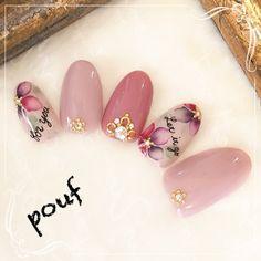 かわいいネイルを見つけたよ♪ #nailbook Flower Nail Designs, Nail Art Designs, Love Nails, Pink Nails, Jasmine Nails, Sunflower Nail Art, Sculpted Gel Nails, Asian Nails, Kawaii Nails