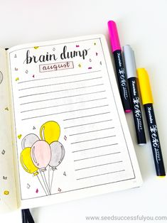 My August bullet journal brain dump spread. Brain Dump Bullet Journal, Birthday Bullet Journal, Bullet Journal Set Up, Bullet Journal Layout, Bullet Journal Inspiration, Journal Ideas, Calendar Printing, Print Calendar, Bujo