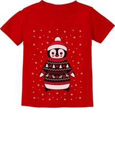 8282d6db1a1 Cute Christmas Penguin Ugly Sweater For Boys and Girls Infant Kids T-Shirt   fashion