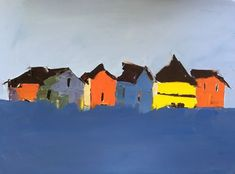 ROW OF HOUSES BY SANDRA PRATT. Bold simple childlike shapes transforms these houses into a fun and very likeable image.