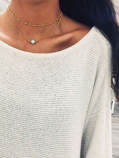 cream sweater, gold necklaces, outfit