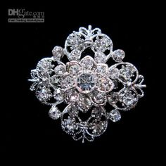 Wholesale Pins, Brooches - Buy Silver Plated Metal Clear Rhinestone Crystal Pretty Flower Collar Pin Brooch, $1.12 | DHgate