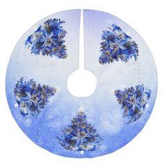 blue christmas tree brushed polyester tree skirt