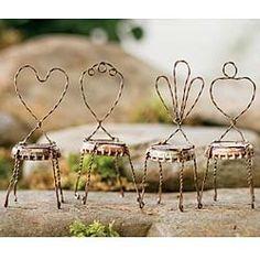 Repurposed Bottle Cap Chairs For Miniature Fairy Gardens.  Set/4