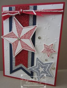 Stampin Up Be the Star card stamp set patriotic, 4th of july, red white and blue