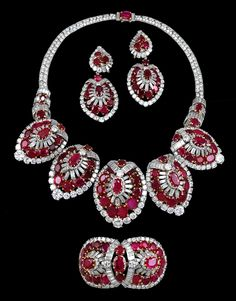 Cartier Ruby and Diamond Parure; ca 1950