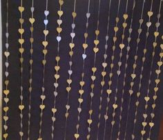 Gold hearts photo booth backdrop. Wedding curtain, Reception Decoration, Paper Hearts Curtain, Photography Backdrop, DYI Photobooth