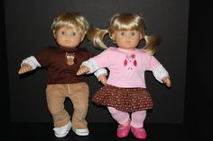includes a khaki cords for the boy, skirt and leggings for the girl and owl tees for each. American Girl Bitty Baby Twin 15 Doll Girl and Boy Long by weeline,
