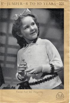 1950's VINTAGE Girls Fair Isle Jumper age 8 to 10 by Hobohooks, £1.20