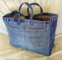 old jeans projects make your own shopping bags that are washable and reuseable.