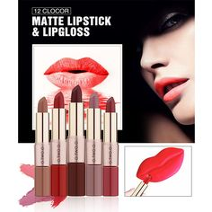 O.TWO.O New 2 in 1 Matte Lipstick Lips Makeup Cosmetics Waterproof Pintalabios Batom Mate Lip Gloss maquiagem #Affiliate