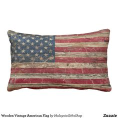 Wooden Vintage American Flag Throw Pillow