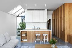 The Chamfer House By Ha Architecture Gracefully Addresses The Inherent Challenges Of Its Restricted Site And Heritage Context. - The Local Project Victorian Terrace, Victorian Homes, Kitchen Furniture, Furniture Design, Gable House, White Tile Backsplash, Interior Architecture, Interior Design, Interior Stylist