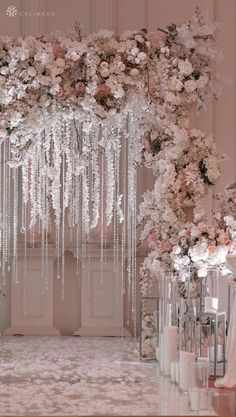 Mini Orchid Garland – Cream Blush wedding arch for wedding ceremony, featuring hanging orchid flowers and crystals White Wedding Arch, Indoor Wedding Arches, Wedding Arch Flowers, Wedding Stage, Elegant Wedding, Diy Wedding, Dream Wedding, Wedding Day, Rustic Wedding