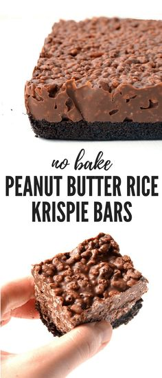 Butter Rice Krispie Bars Amazing no bake Peanut Butter Rice Krispie Bars with an Oreo crust. You only need 6 ingredients to make these gorgeous chocolate treats! Recipe from Amazing no bake Peanut Butter Rice Krispie Bars with an Oreo crust. Rice Krispie Bars, Peanut Butter Rice Krispies, Oreo Rice Krispie Treats, Chocolate Rice Krispies, Recipe With Rice Krispies, Vegan Rice Crispy Treats, Peanut Butter Cookie Bars, Peanut Butter No Bake, Rice Krispy Treats Recipe