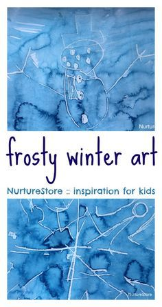 Wax crayon water paint frosty pictures, winter art project or children, snow art lesson, frost painting for kids