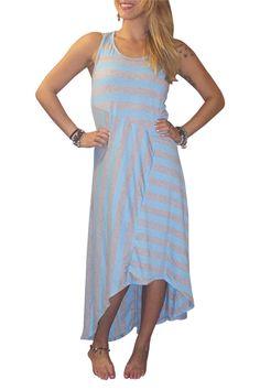 Sleeveless, Long Maxi Dress Blue & Grey Asymmetrical Stripes!