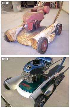 Vintage push mower restored by Mark Moriarity. Share photos of your projects with us: http://www.facebook.com/smallengineparts