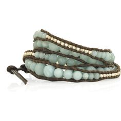 Chan Luu Sterling silver amazonite wrap bracelet ($220) ❤ liked on Polyvore featuring jewelry, bracelets, accessories, fillers, hammered jewelry, sterling silver bangles, adjustable bangle, sterling silver jewelry and brown jewelry