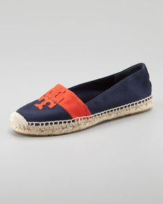 Weston Flat Espadrille, Navy/Flame Red by Tory Burch at Neiman Marcus.