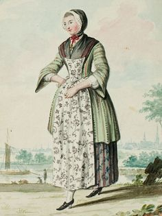 """1770s - 18th century - woman's outfit with mixed print fabrics (jacket in stripes, skirt in stripes with floral overprinted, apron in a different floral) - From """"An album containing 90 fine water color paintings of costumes."""" Turin : [s.n.] , [ca.1775]. In the collection of the Bunka Fashion College in Japan."""