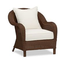 Palmetto All-Weather Wicker Armchair, Honey At Pottery Barn - Outdoor - Outdoor Lounge Furniture - Outdoor Chairs Wicker Armchair, Outdoor Wicker Patio Furniture, Lounge Chair Cushions, Garden Furniture Sets, Wicker Furniture, Outdoor Chairs, Condo Furniture, Indoor Outdoor, Modular Furniture