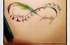 Love this simply but beautiful tattoo. Feather, infinity circle. Family