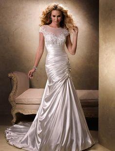 Bridal Gowns: Maggie Sottero Mermaid Wedding Dress with Illusion Neckline and Asymmetric Waist Waistline