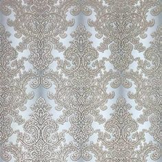Off white Gray Beige Gold Damask Wallpaper