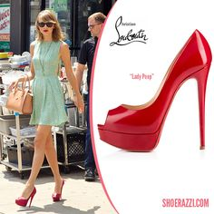 Taylor Swift in Christian Louboutin Lady Peep Platform Leather Pumps - ShoeRazzi