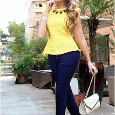 Cordón de la vendimia de las mujeres con volantes bodycon Blusa Camiseta – USD $ 11.69