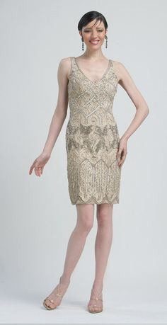Sue Wong Summer 2012- Taupe Beaded Embroidered Tank Flapper Cocktail Dress -