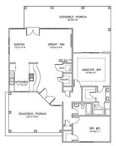 First Floor Plan of Cottage Florida Southern House Plan 59358 Small House Floor Plans, Best House Plans, Tiny House Cabin, Cabin Homes, Tiny Homes, 2 Bedroom House Plans, Southern House Plans, Southern Living, Farmhouse Remodel