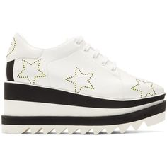 Stella McCartney White Sneak-Elyse Stars Sneakers (5,915 GTQ) ❤ liked on Polyvore featuring shoes, sneakers, white, white lace up sneakers, stella mccartney shoes, white sneakers, animal trainer and star sneakers