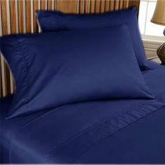 1000 TC Egyptian Cotton 8,10,12,15 Inch Deep Pkt Navy Blue Solid Bedding Items
