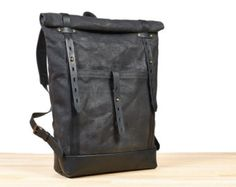 Bolso de lona encerada cuero mochila mochila encerada por Tram21