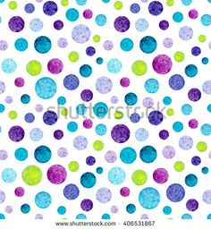 Watercolor Blue Circles Seamless Pattern