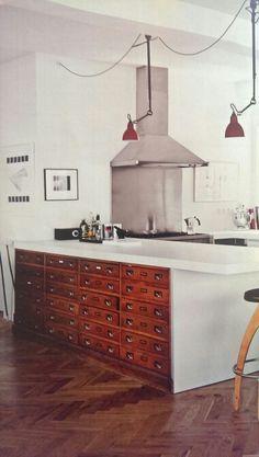 An old pharmacy cabinet integrated into a modern kitchen ❤ the idea from Sigridur Sigurjonsdotter feat. in Schöner Wohnen 01|16
