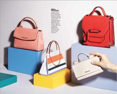 Spring Accessories Fresh Picks, Chatelaine Editorial Photography by Roberto Caruso; Manicures by Rita Remark, Fashion Direction by Vanessa Taylor. Mini bags, off figure, still life editorial