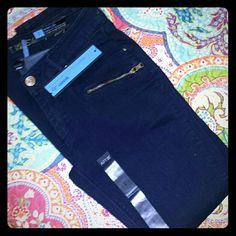 Dark Blue Skinny jeans NWT. Modern fit- super cute with boots!! I'm not sure where these are so please lmk if you want to purchase and I will reserve until I find them for you Apt. 9 Jeans Skinny