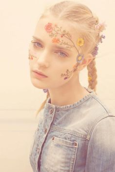 By Txema Yeste for Pull & Bear's spring 2011. #flowers #floral #makeup