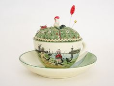Vintage G S Zell Pottery Tea Cup by PozeyPincushionsPlus on Etsy