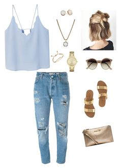 """Untitled #104"" by bririos1 ❤ liked on Polyvore featuring J.Crew, Kendra Scott, MANGO, Levi's, Kate Spade, Ray-Ban and MICHAEL Michael Kors"