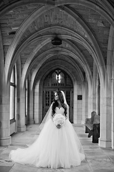 Bride in Strapless Vera Wang Ball Gown | Brides.com