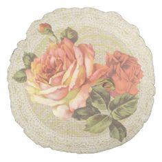 Orange pink roses & lace floral vintage pillow round pillow