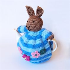 Hand Knitted Bunny Tea Cosy, from Strictly Tea Cozy board, patterns and inspiration, https://www.pinterest.com/strictlykathy/strictly-tea-cosy/